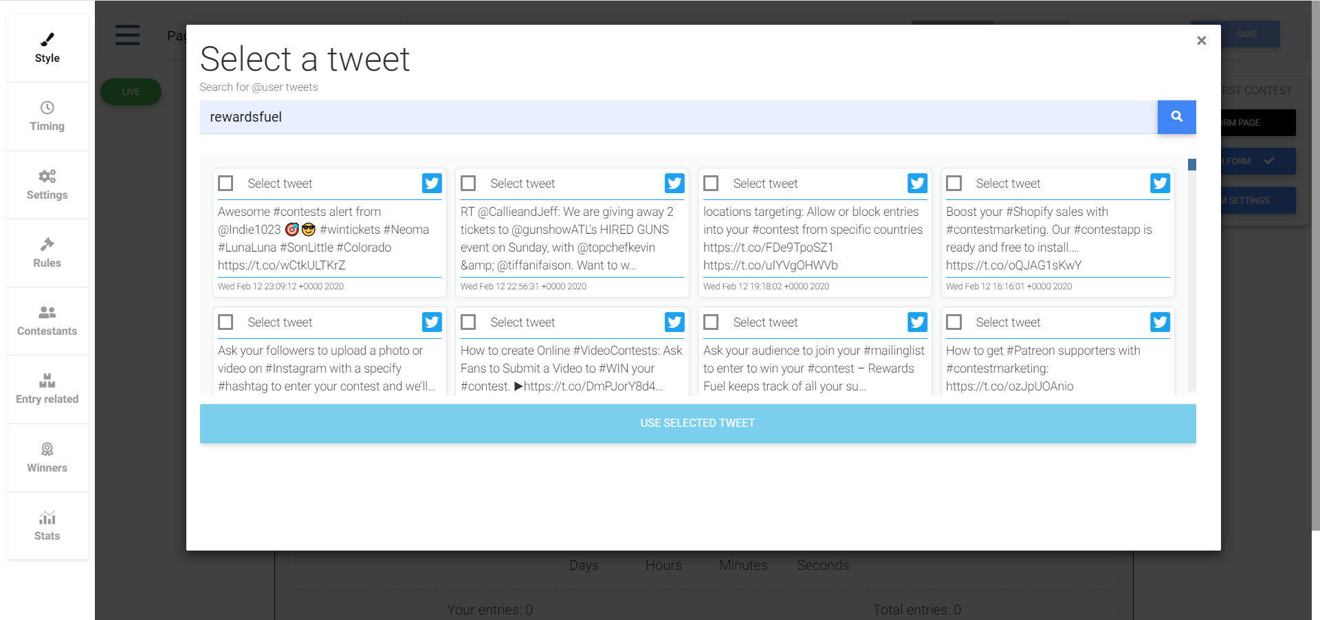 Select the tweet you want to use in your Twitter contest