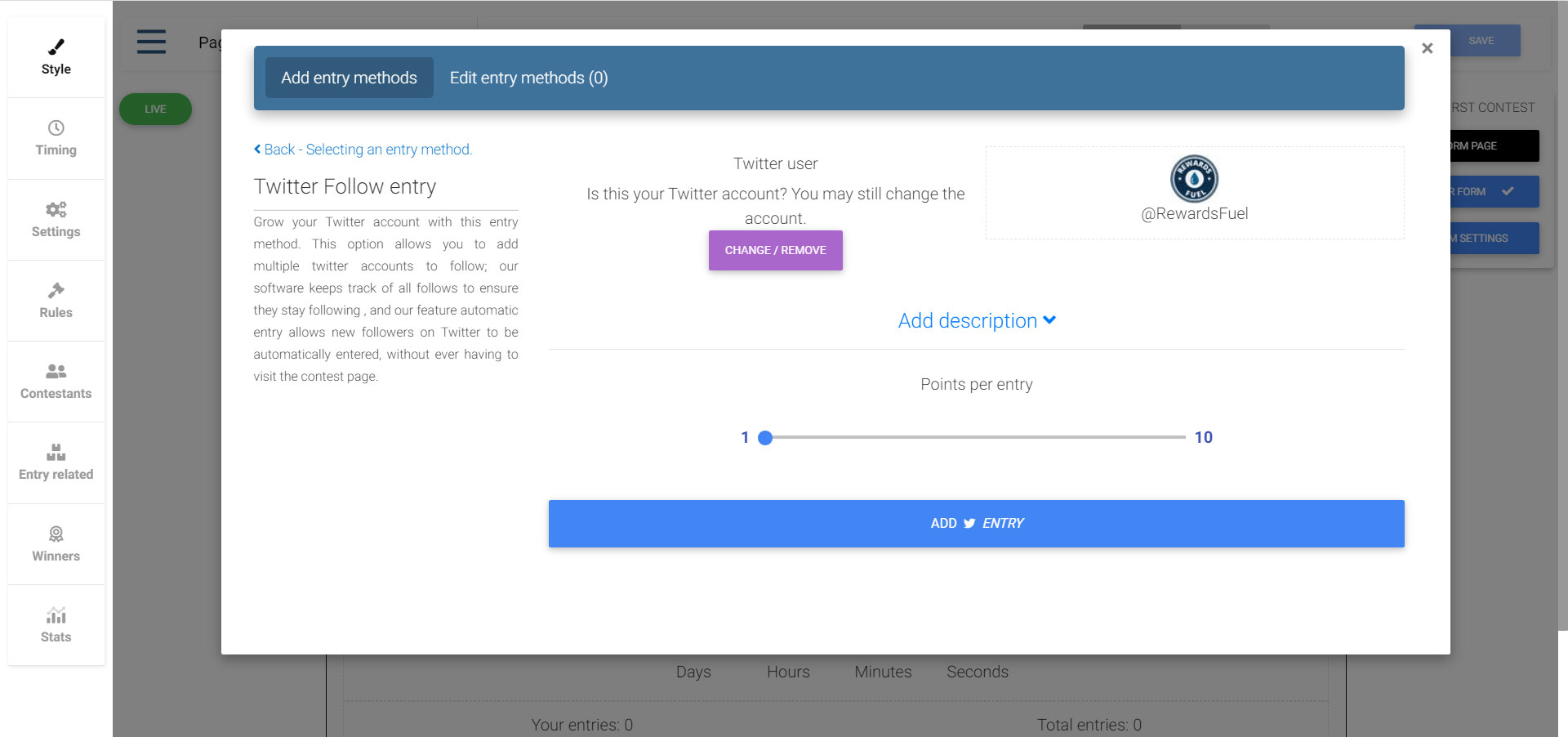 Follow on Twitter entry creation