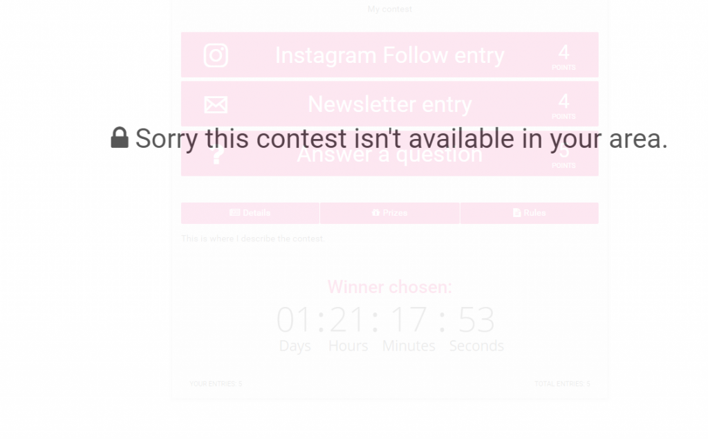 sorry Contest is not for your country