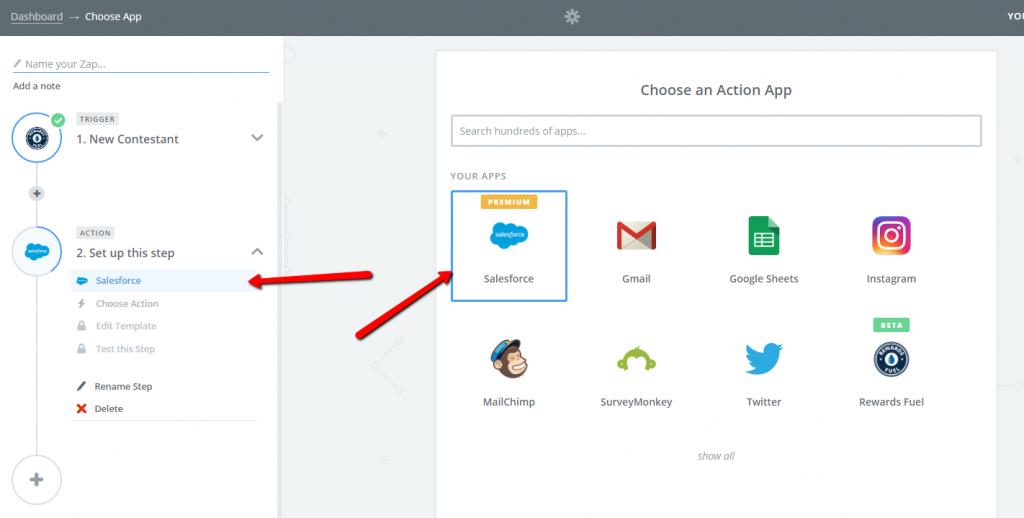 Select Salesforce action app