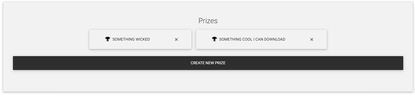 Your prizes, edit, delete or create more prizes