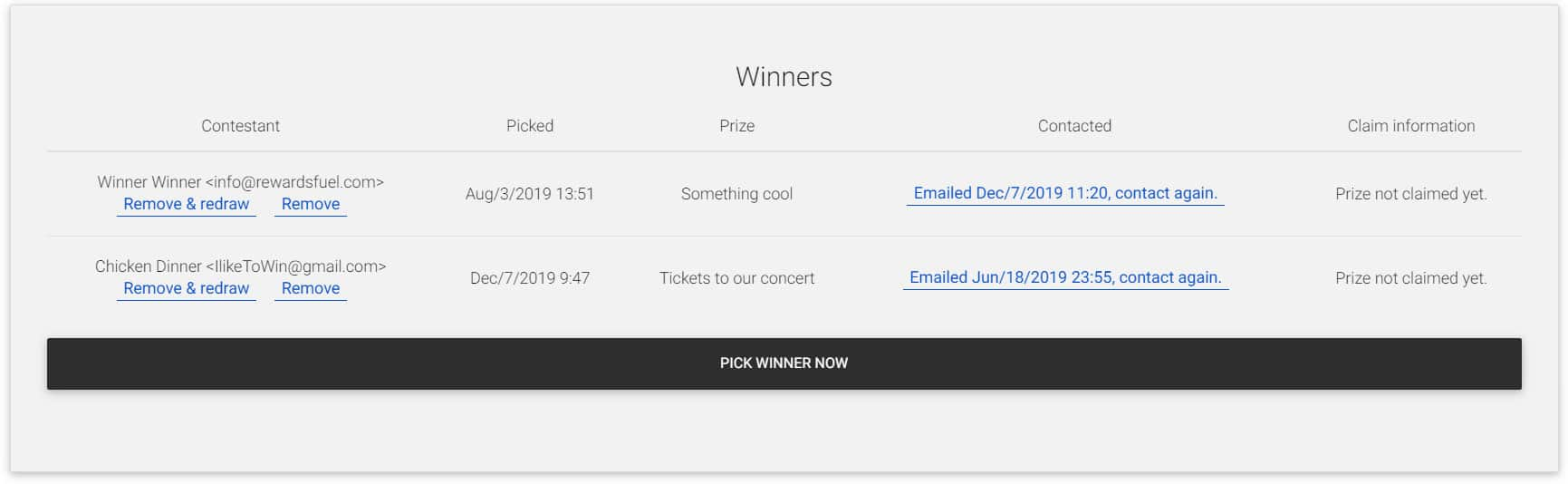 See who your winners are - contest winner generator
