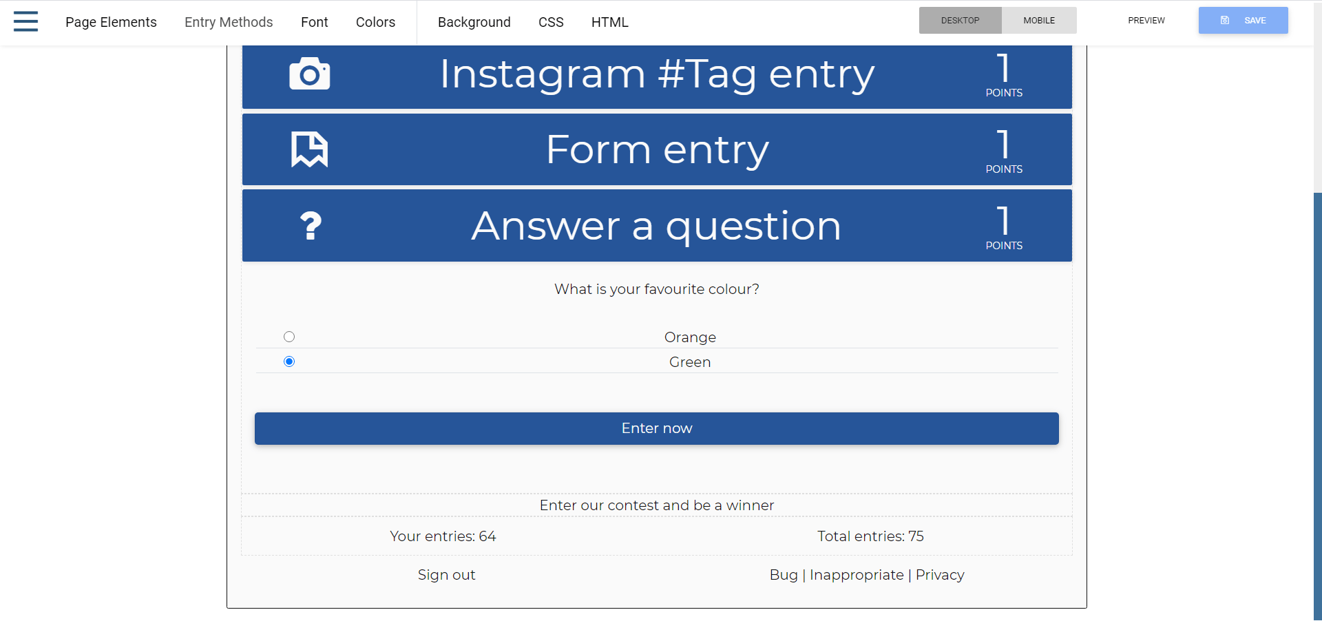 Multiple choice questions with radio buttons